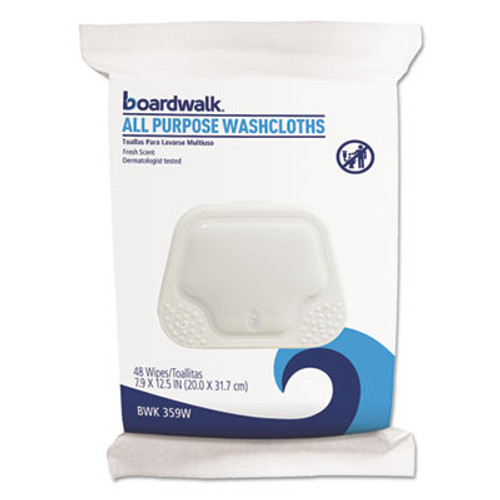 Boardwalk Premoistened Personal Washcloths, 12 1/2 x 7 9/10, Fresh Scent, 48/Pack (BWK359WPK)