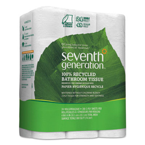Seventh Generation 100% Recycled Bathroom Tissue, 2-Ply, White, 240 Sheets/Roll, 24/Pack (SEV13738)