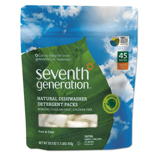 Seventh Generation Natural Dishwasher Detergent Concentrated Packs, Free & Clear, 45 Packets/Pack (SEV22897)