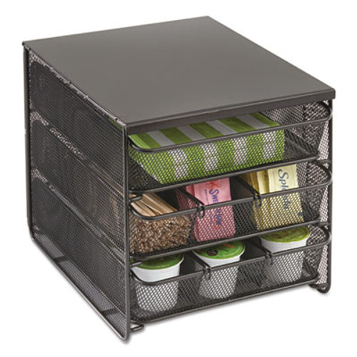 Safco 3 Drawer Hospitality Organizer, 7 Compartments, 11 1/2w x 8 1/4d x 8 1/4h, Bk (SAF3275BL)