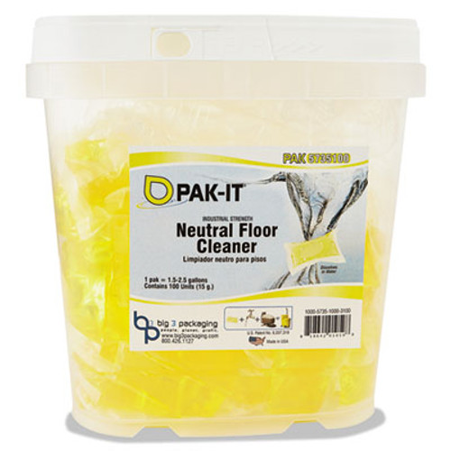 PAK-IT Neutral Floor Cleaner, Lavender Scent, 100 PAK-ITs/Tub (BIG573520003400)