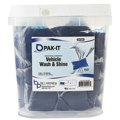 PAK-IT Vehicle Wash & Shine, Blue, 50 PAK-ITs/Tub (BIG545820003200)