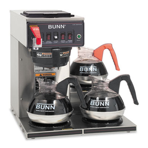 BUNN CWTF-3 Three Burner Automatic Coffee Brewer, Stainless Steel, Black (BUNCWTF153LP)