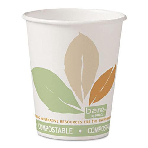 Dart Bare by Solo Eco-Forward PLA Paper Hot Cups, 10oz, Leaf Design,50/Bag,20 Bags/Ct (SCC370PLAJ7234)