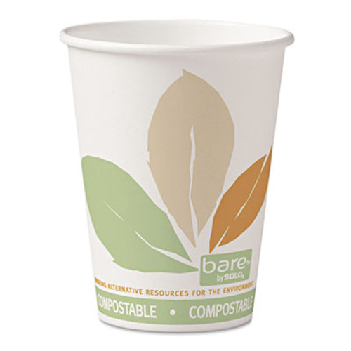 Dart Bare  by Solo Eco-Forward PLA Paper Hot Cups, 12oz,Leaf Design,50/Bag,20 Bags/Ct (SCC412PLNJ7234)