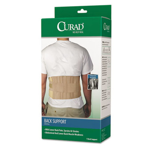 """Curad Back Support, Elastic, 33"""" to 48"""" Waist Size, 33w 48d x 10h, 6 Stays, Beige (MIIORT22000D)"""