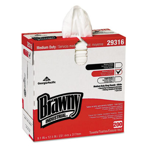 "Georgia Pacific Brawny Industrial Lightweight Shop Towel, 9 1/10"" x 12 1/2"", White, 200/Box (GPC29316)"
