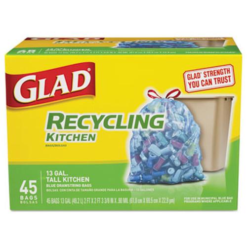 Glad Recycling Tall Kitchen Drawstring Bags, Blue, .90 mil, 13 gal, 45/Box, 4 BX/CT (CLO78542BX)