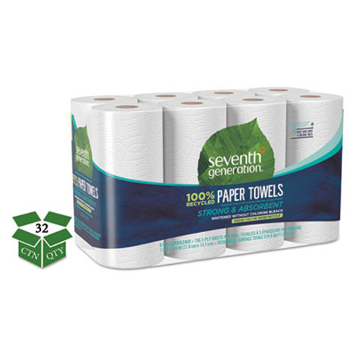 Seventh Generation 100% Recycled Paper Towel Rolls, 2-Ply, 11 x 5.4 Sheets, 156 Sheets/RL, 32RL/CT (SEV13739CT)