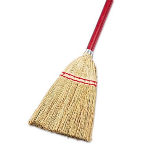 "Boardwalk Lobby/Toy Broom, Corn Fiber Bristles, 39"" Wood Handle, Red/Yellow, 12/Carton (BWK951TCT)"