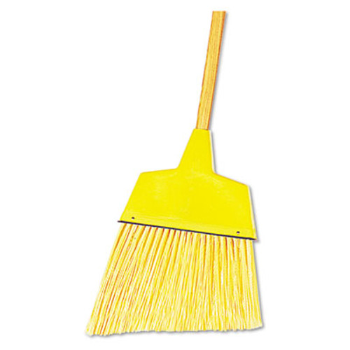 "Boardwalk Angler Broom, Plastic Bristles, 42"" Wood Handle, Yellow, 12/Carton (BWK932ACT)"