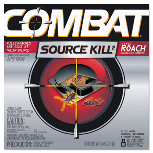 Combat Source Kill Large Roach Killing System, Child-Resistant Disc, 8/Box (DIA41913)