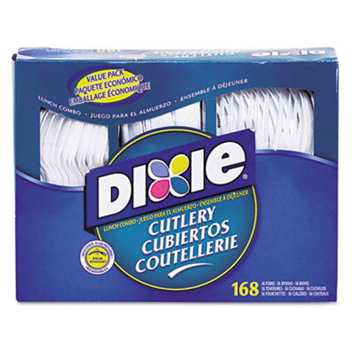 Dixie Combo Pack, Tray w/ White Plastic Utensils, 56 Forks, 56 Knives, 56 Spoons (DXECM168)