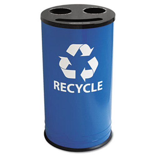 Ex-Cell Round Three-Compartment Recycling Container, Steel, 14gal, Blue/Black (EXCRC15283RBL)