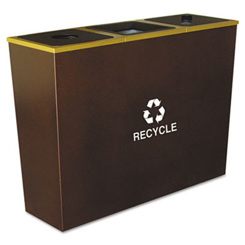Ex-Cell Metro Collection Recycling Receptacle, Triple Stream, Steel, 54gal, Brown (EXCRCMTR3HCP)