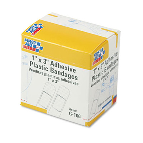 """First Aid Only Plastic Adhesive Bandages, 1"""" x 3"""", 100/Box (FAOG106)"""