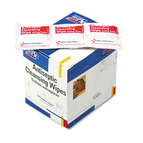 First Aid Only Antiseptic Cleansing Wipes, 50/Box (FAOH307)