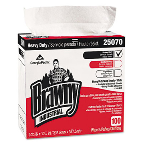 Georgia Pacific Medium Weight HEF Shop Towels, 9 1/8 x 16 1/2, 100/Box, 5 Boxes/Carton (GPC25070CT)