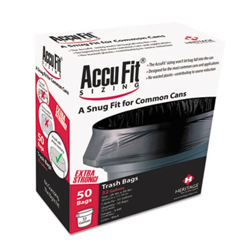 """AccuFit Can Liners, 23gal, .90mil, Black, 28"""" x 45"""", 50/Box (HERH5645TKRC1)"""