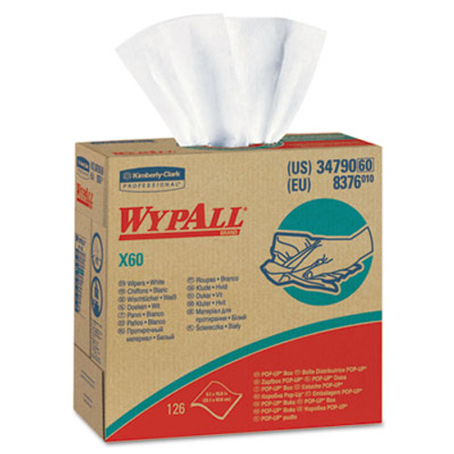 WypAll* X60 Cloths, POP-UP Box, White, 9 1/8 x 16 7/8, 126/Box, 10 Boxes/Carton (KCC34790CT)