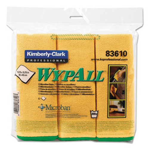 WypAll* Microfiber Cloths, Reusable, 15 3/4 x 15 3/4, Yellow, 6/Pack (KCC83610)