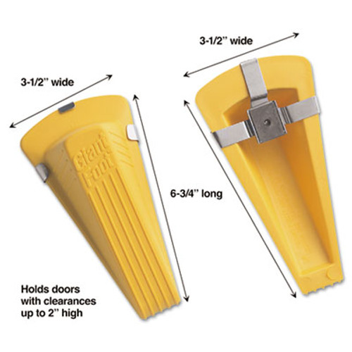 Master Caster Giant Foot Magnetic Doorstop, No-Slip Rubber Wedge, 3-1/2w x 6-3/4d x 2h, Yellow (MAS00967)