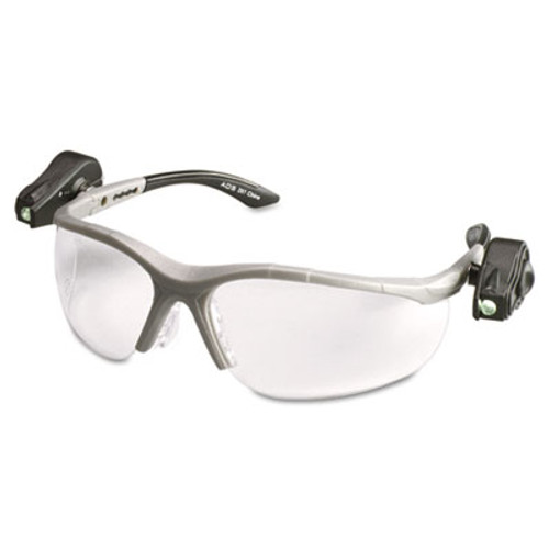 3M LightVision Safety Glasses w/LED Lights, Clear AntiFog Lens, Gray Frame (MMM114760000010)