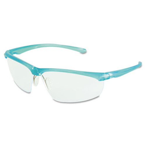3M Refine 201 Safety Glasses, Wraparound, Clear AntiFog Lens, Teal Frame (MMM117350000020)
