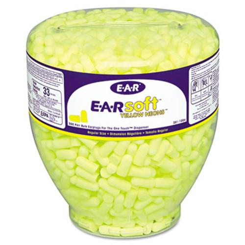3M E·A·Rsoft Neon Tapered Earplug Refill, Cordless, Yellow, 500/Box (MMM3911004)