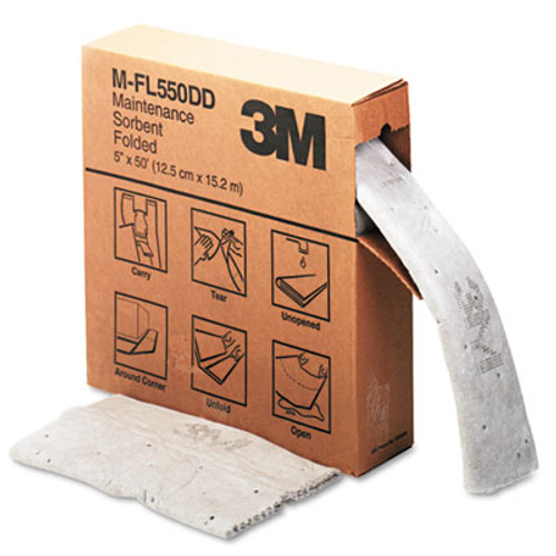 3M Sorbent, High-Capacity, Folded Maintenance, 10.5gal Capacity, 1 Roll/Box (MMMMFL550DD)