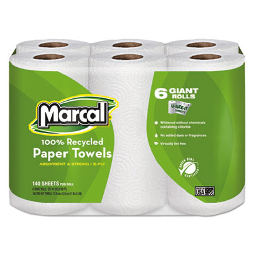 Marcal 100% Recycled Roll Towels, 2-Ply, 5 1/2 x 11, 140/Roll, 6 Rolls/Pack (MRC6181PK)