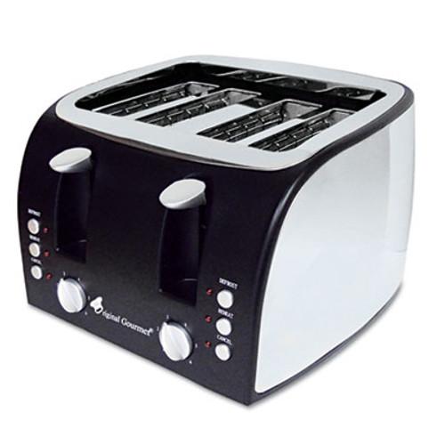 Coffee Pro 4-Slice Multi-Function Toaster with Adjustable Slot Width, Black/Stainless Steel (OGFOG8166)