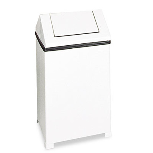 Rubbermaid Fire-Safe Swing Top Receptacle, Square, Steel, 24gal, White (RCPT1424ERBWH)