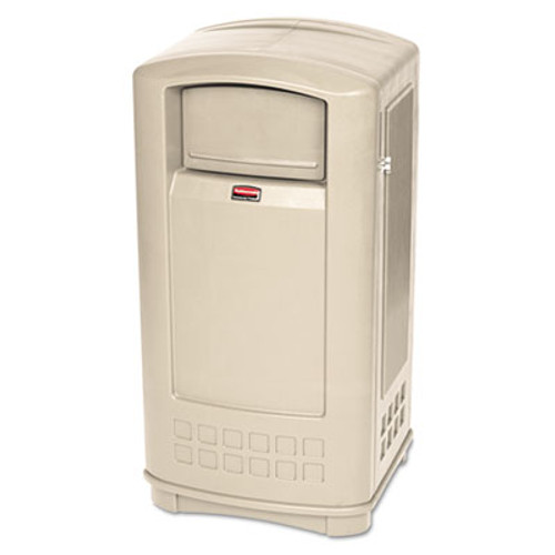 Rubbermaid Plaza Indoor/Outdoor Waste Container, Rectangular, Plastic, 35gal, Beige (RCP9P9000BG)