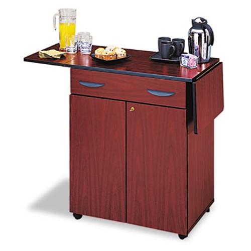 Safco Hospitality Service Cart, One-Shelf, 32-1/2w x 20-1/2d x 38-3/4h, Mahogany (SAF8962MH)