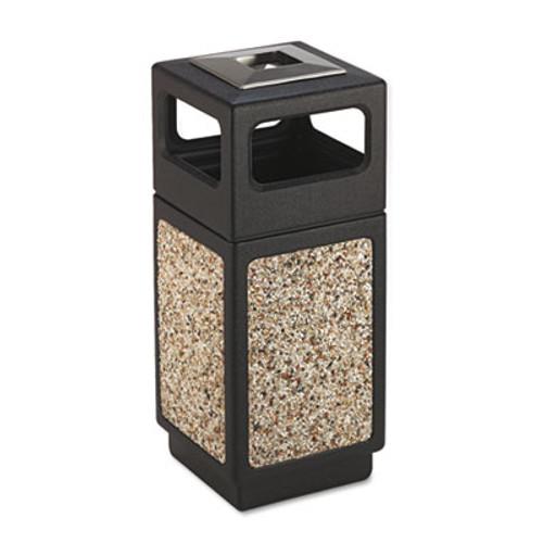 Safco Canmeleon Ash/Trash Receptacle, Square, Aggregate/Polyethylene, 15gal, Black (SAF9470NC)