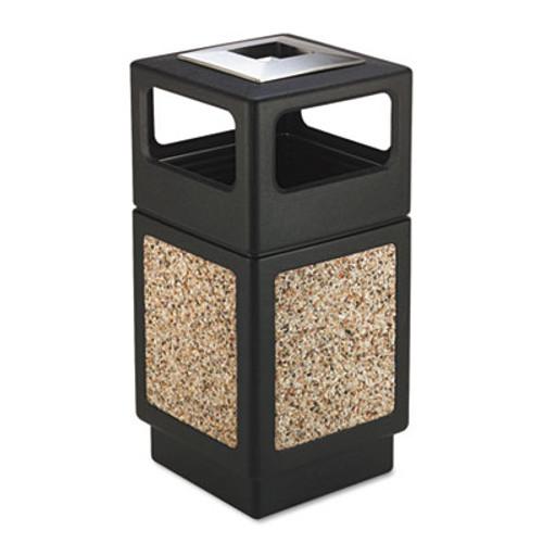 Safco Canmeleon Ash/Trash Receptacle, Square, Aggregate/Polyethylene, 38gal, Black (SAF9473NC)