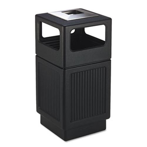 Safco Canmeleon Ash/Trash Receptacle, Square, Polyethylene, 38gal, Textured Black (SAF9477BL)