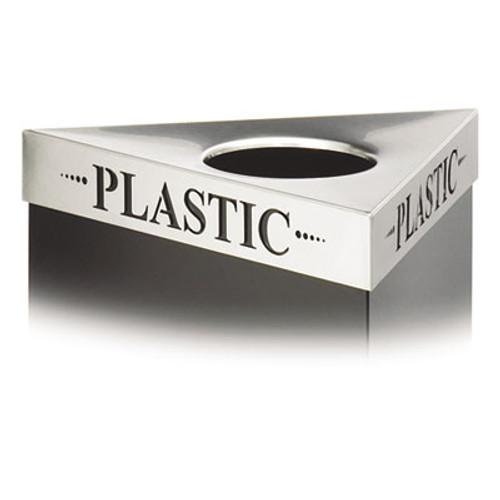 "Safco Triangular Lid For Trifecta Receptacle, Laser Cut ""PLASTIC"" Inscription, STST (SAF9560PC)"