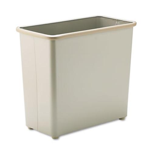 Safco Rectangular Wastebasket, Steel, 27.5qt, Sand (SAF9616SA)