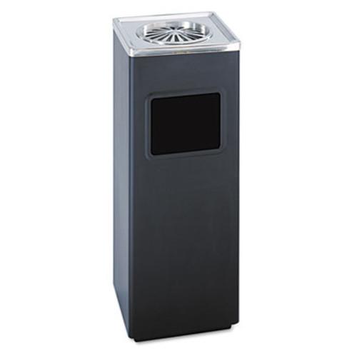 Safco Ash 'N Trash Sandless Urn, Square, Stainless Steel, 3gal, Black/Chrome (SAF9696BL)