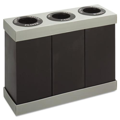 Safco At-Your-Disposal Recycling Center, Polyethylene, Three 84gal Bins, Black (SAF9798BL)