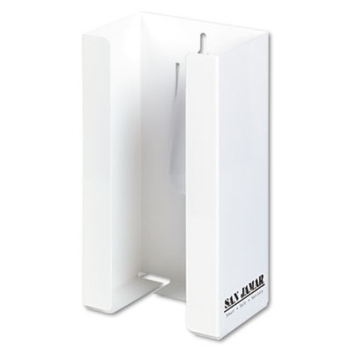 San Jamar White Enamel Disposable Glove Dispenser, Single-Box, 5 1/2w x 3 3/4d x 10h (SJMG0802)