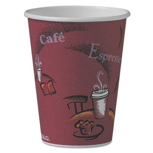 Dart Bistro Design Hot Drink Cups, Paper, 12oz, Maroon, 50/Pack (SCC412SINPK)