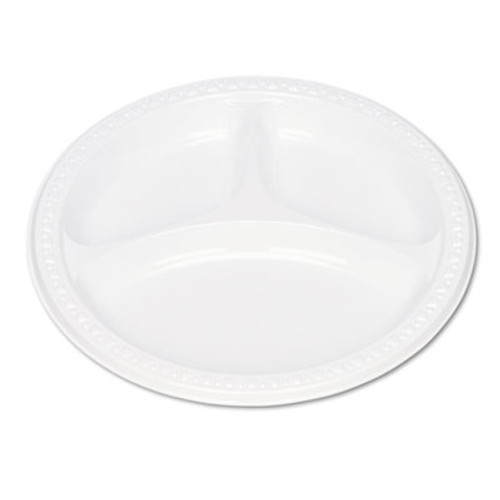 "Tablemate Plastic Dinnerware, Compartment Plates, 9"" dia, White, 125/Pack (TBL19644WH)"