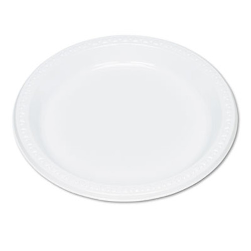 """Tablemate Plastic Dinnerware, Plates, 9"""" dia, White, 125/Pack (TBL9644WH)"""