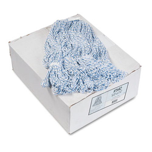 Boardwalk Mop Head, Floor Finish, Narrow, Rayon/Polyester, Medium, White/Blue, 12/Carton (BWK542CT)