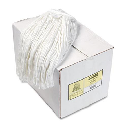 Boardwalk Premium Cut-End Wet Mop Heads, Rayon, 24oz, White, 12/Carton (BWK224RCT)
