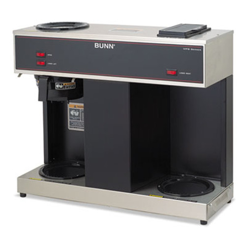 BUNN Pour-O-Matic Three-Burner Pour-Over Coffee Brewer, Stainless Steel, Black (BUNVPS)