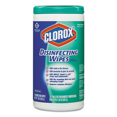 Clorox Disinfecting Wipes, 7 x 8, Fresh Scent, 75/Canister (CLO15949EA)